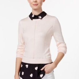 Maison Jules Printed Layered-Look Top Pink Cloud